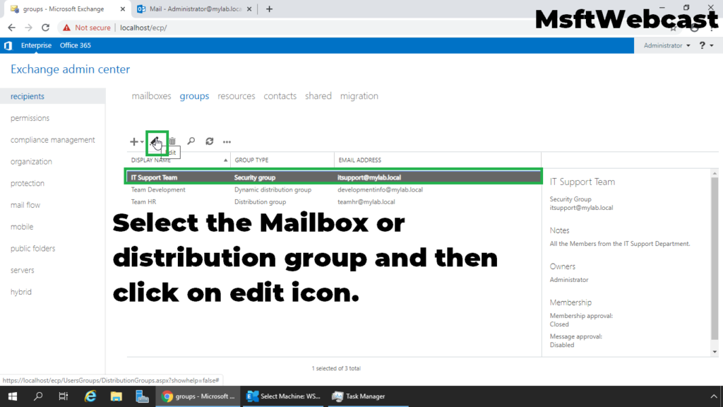 9. select the mailbox or distribution group