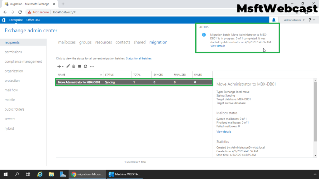 9. verify new migration task in exchange admin center