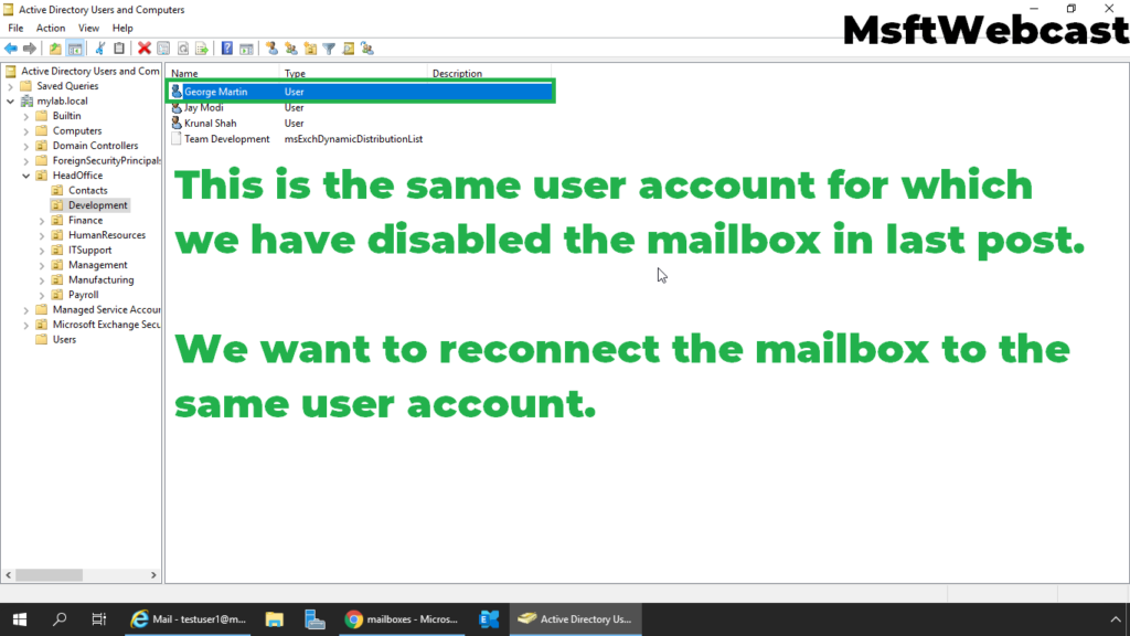 1. verify the existing user in active directory