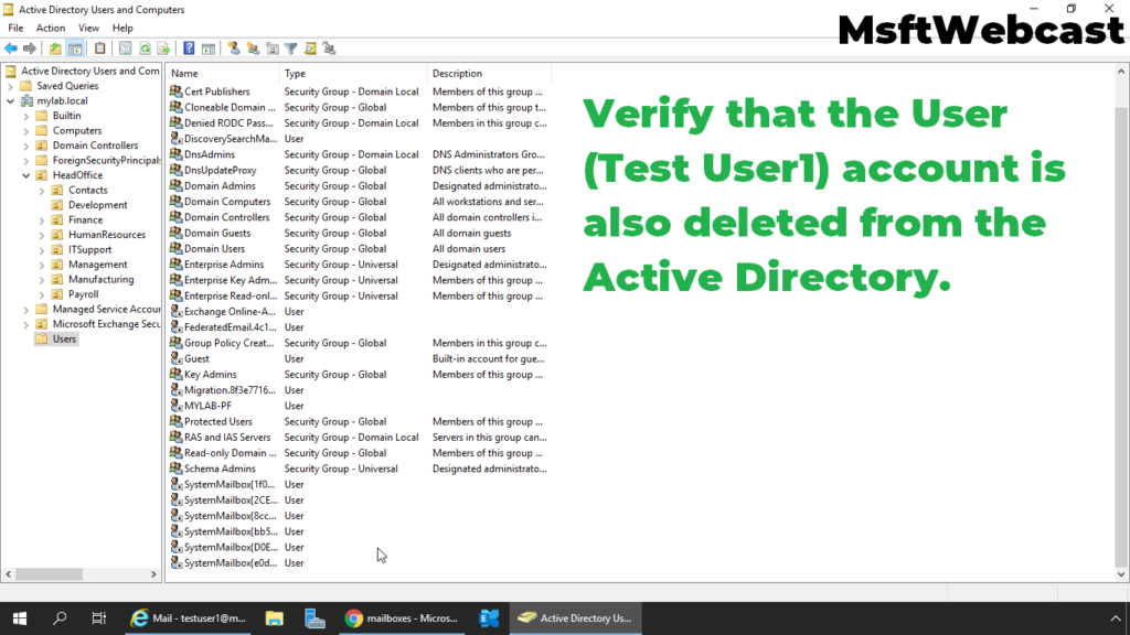 10. verify that the user account is also deleted from the active directory