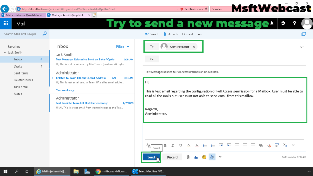 11. try to send an email using this account