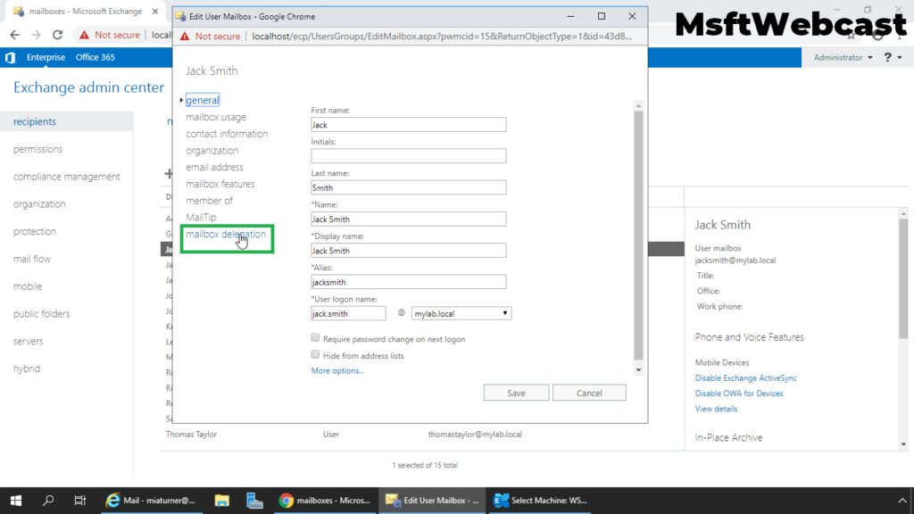 3. click on mailbox delegation tab