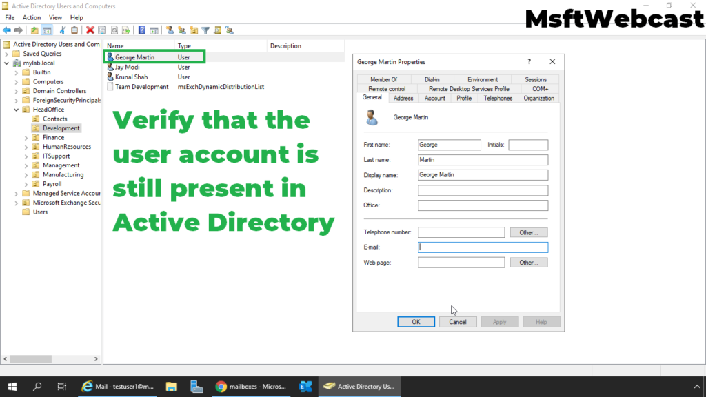 5. verify the user account in active directory