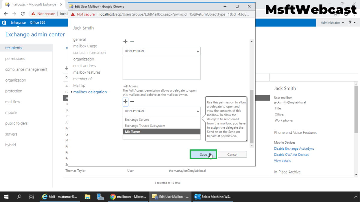 How to Grant Full Access Permissions to Mailbox in Exchange 2019