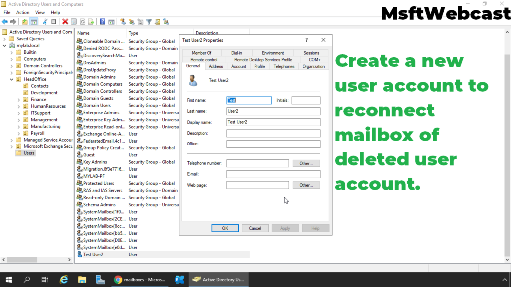 8. create a new user account to connect deleted mailbox