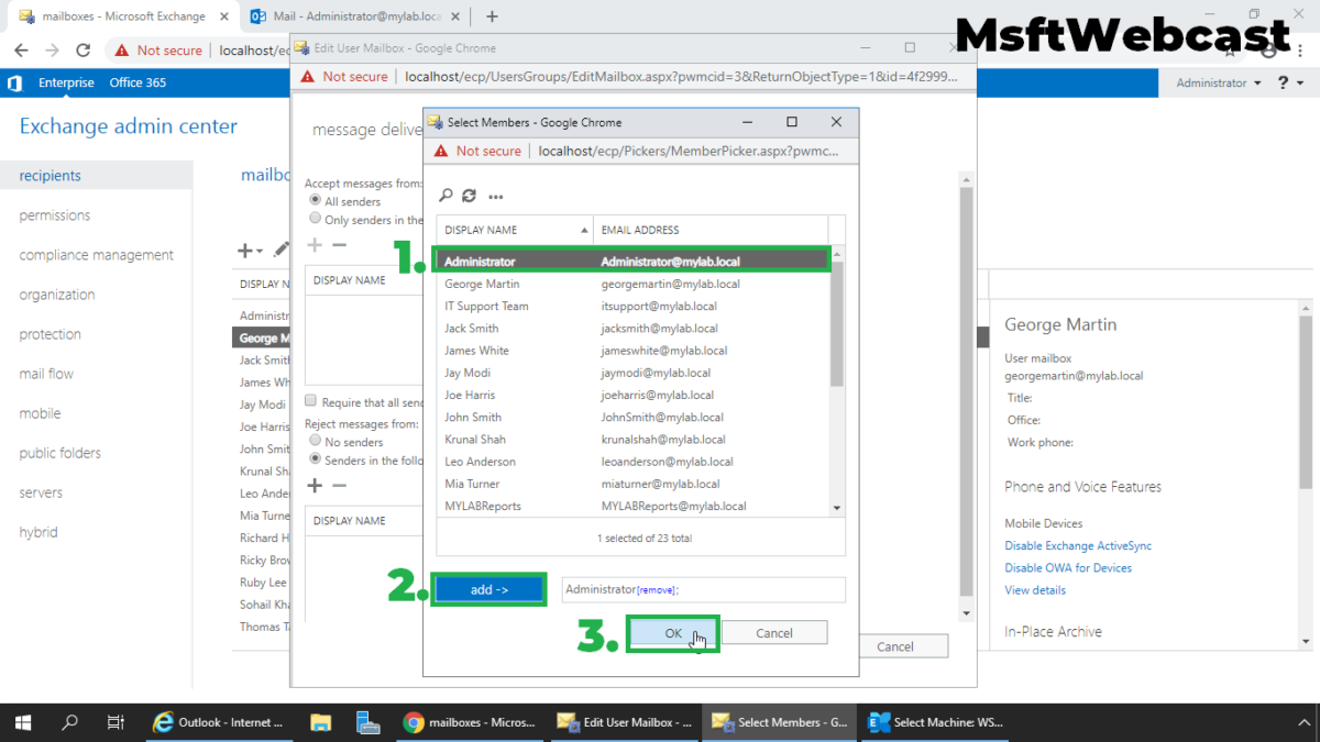 Configure Message Delivery Restrictions for a Mailbox in Exchange 2019